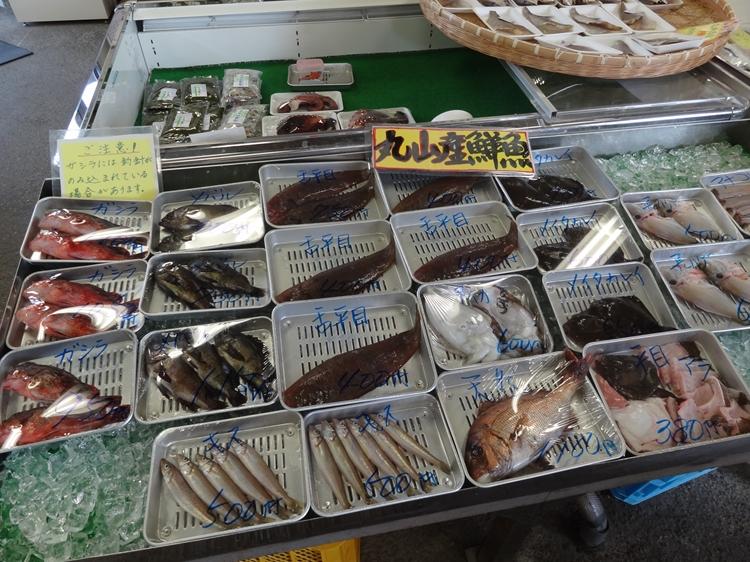 丸山漁港の鮮魚を求め「魚菜館」へ…慶野松原一般キャンプ場周辺で食材さがし。